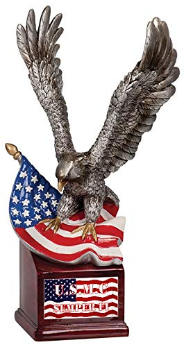 Gatsbe Exchange U.S.M.C Marines Sculpture Flying Eagle and Flag A Gift for The Brave Limited Edition with COA