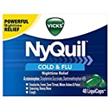 Vicks NyQuil Cough Cold and Flu Nighttime Relief, 48 LiquiCaps - Pack of 5