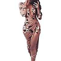 Women Summer Bodycon Dress, Balakie Ladies Casual Floral Print Long Sleeve Dresses (XL, Coffee)