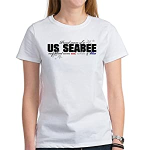 CafePress - Red, white & blue Seabee Mom Women's T-Shirt - Womens Cotton T-Shirt, Crew Neck, Comfortable & Soft Classic Tee by CafePress