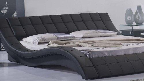 Polsterbett, Kunstlederbett R0B 180x200 cm Schwarz aus hochwertigem Kunstleder