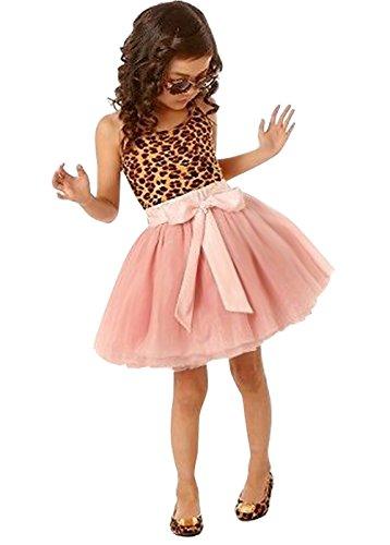 Girls Vintage Lepoard Sleeveless Dresses