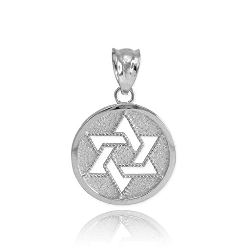 - Fine 925 Sterling Silver Milgrain-Edged Medal Jewish Star of David Charm Pendant