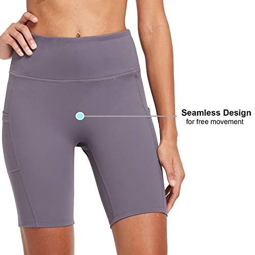 "BALEAF Women's 8"" /5"" /2"" High Waist Workout Biker Yoga Running Compression Exercise Shorts Side Pockets (Regular/Plus Size)"