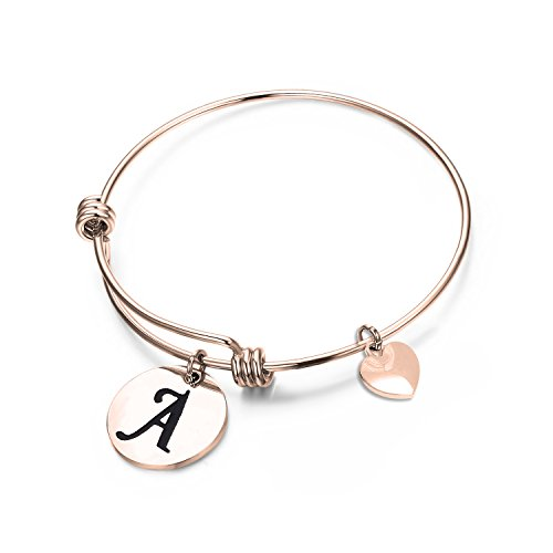 MAOFAED Initial Bracelet,Rose Gold Letter Bracelet, Personalized Jewelry, Hand Stamped Jewelry (Rose Gold-A)