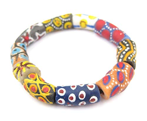 TheBeadChest African Bead Bracelet, Krobo Tribal Painted Powder Glass Authentic Stretch Bracelet Inspired by African Trade Beads