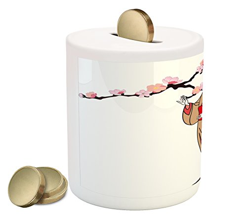 Lunarable Japanese Piggy Bank, Japan Woman in a Traditional Dress with Sakura Tree Branch Cherry Blossoms Artwork, Printed Ceramic Coin Bank Money Box for Cash Saving, Multicolor
