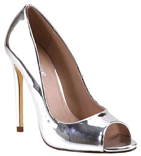 Metallic Open Toe Heels - 7