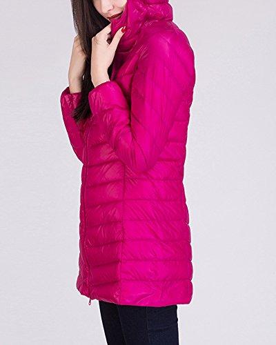 Leggero Giacche Sportivo Cappotto Donna Cappuccio Lungo Piumino Rose Con Impacchettabile 5XwAqUp