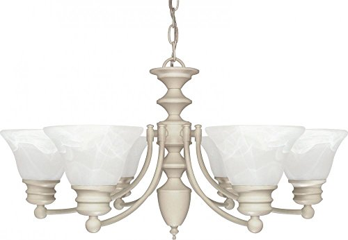 Nuvo Lighting 60/359 Six Light Chandelier, Textured White/Alabaster Glass ()