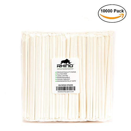 The Spice Lab Rhino White Drinking Eco-Friendly Biodegradable Paper Straws 7.75'', 6mm for Juice, Shakes, Cocktail, Tea, Soda, Milkshakes, Smoothies & Parties (Wrapped - 10000 Count) by The Spice Lab (Image #9)