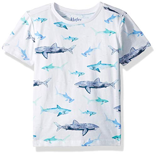 Hatley Boys' Little Graphic Tee, Watercolor Sharks, 2 Years (Watercolor Graphic Tees)