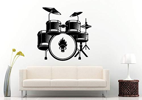 AdecalsNew Wall Decals Cute-Musical Drums Drum Set with Flaming Skull Head in The Kick Drum Tool Wall Decal Vinyl Sticker Mural Room Decor - Made in USA-Fast - Flaming Drums