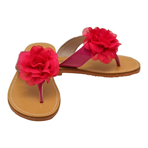 Fuchsia Sandals Thong Flower Adorned 11 Organza L'Amour 4 Girls Kids wqY5pvF