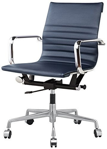 Lider Leather - Meelano 348-NVY Office Chair in Vegan Leather, Navy Blue