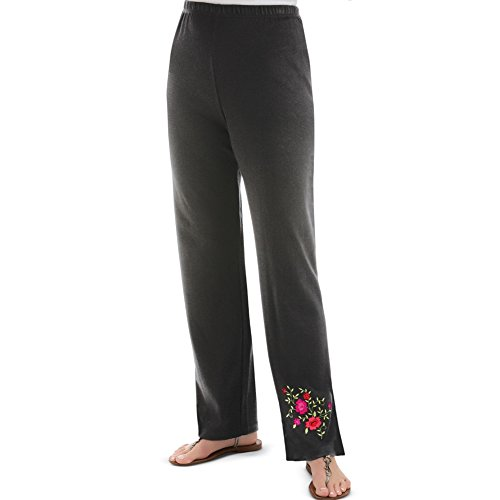 Women's Rose Embroidered Cotton Pants, Black, Xx-Large (Cotton Embroidered Knit Pants)
