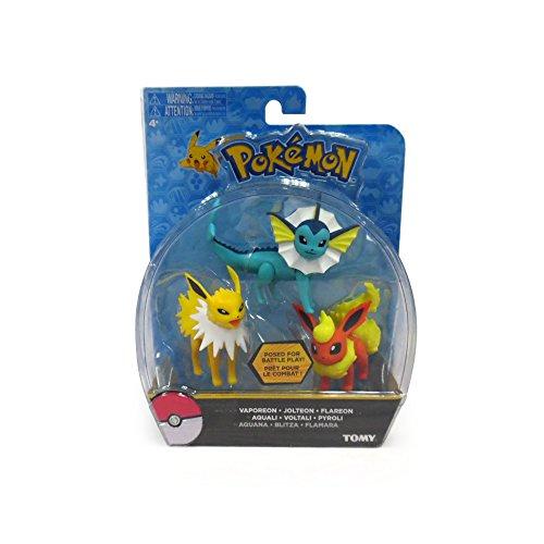 TOMY Pokémon Action Pose 3 Figure Pack, Flareon, Jolteon and Vaporeon