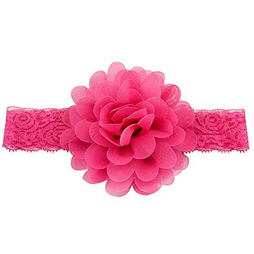 Qandsweet Baby Girl Lace Headbands with Chiffon Hair Bows Mixed 10 Colors