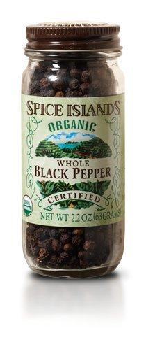 Spice Islands Organic Whole Black Pepper, 2.2 oz. (2pack)