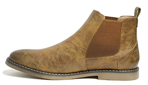 PartyEight Mens Ankle Casual Chelsea Boots Brown 7 by PartyEight (Image #1)
