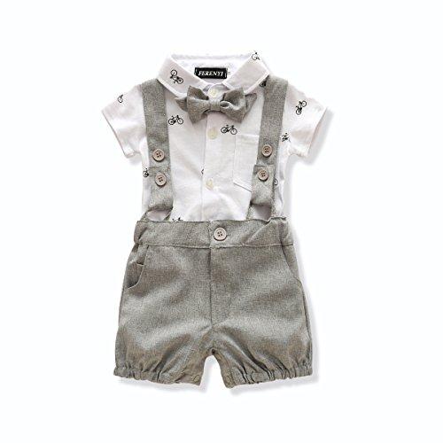 FERENYI US Baby Boys Bowtie Gentleman Romper Jumpsuit Overalls Rompers (13-18 Months, Gray 6) ()