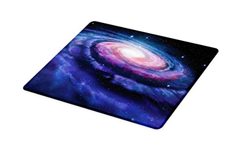 Lunarable Outer Space Cutting Board, Spiral Cosmic Energy with Dark Nebula Cloud Burst Solar System Universe Image, Decorative Tempered Glass Cutting and Serving Board, Large Size, Blue Purple by Lunarable