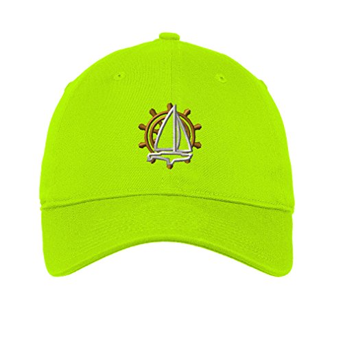 Sailing Logo Twill Cotton 6 Panel Low Profile Hat Lime Green