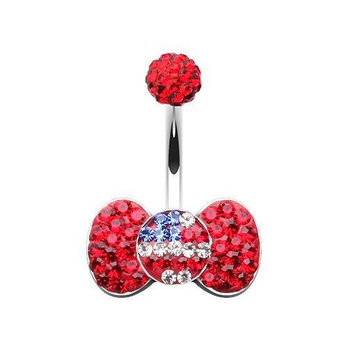 WildKlass Jewelry Rainbow Heart Multi-Sprinkle Dot 316L Surgical Steel Belly Button Ring