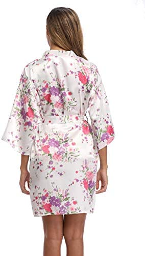 iFigure Women Floral Kimono Robe Satin Bridal Dressing Gown Bride Bridesmaid Robes Sleepwear