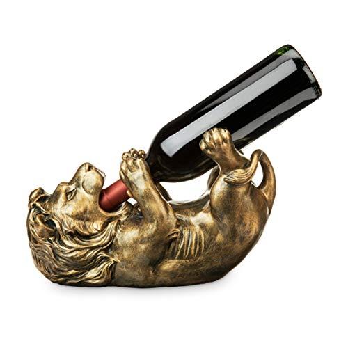 True 8122 Antiqued Bronze Lion Wine Bottle Holder, One Size, (Bronze Lion)