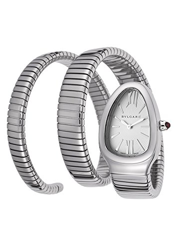 Bulgari Women's Serpenti Silver Textured Dial Flexible SS Double Wrap-Around