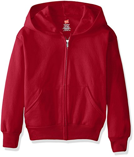 Hanes Big Boys' Eco Smart Fleece Zip Hood, Deep Red, Medium