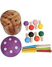 Rijke kleuren kinderen educatief speelgoed, houten magnetisch speelgoed, duurzaam voor kinderen baby(Mushroom catching insects)