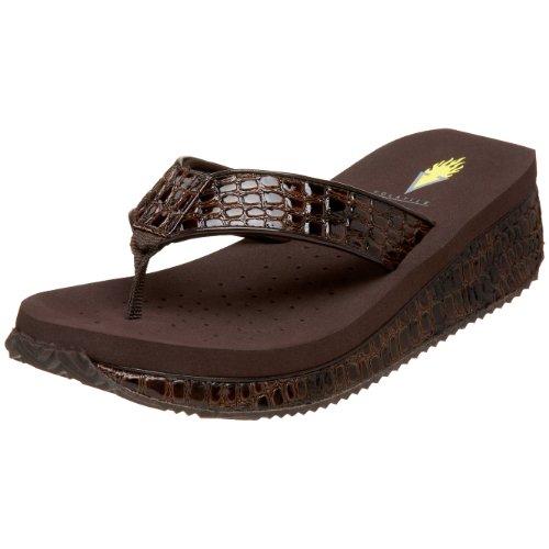 (Volatile Women's Mini Croco Wedge Sandal, Brown, 8 B US)