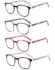 JM Leesbril Set van 4 Kwaliteit Veerscharnier Lezers Heren Dames Brillen om te Lezen