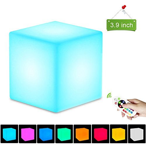 2nDLove Mood Lamp Lighting, LED Cube Lights, 3.9'' Rechargeable Cube Beside Lamp, Night Light with Remote Control, Safe PE Material, 16 Color, 11 Dimmable Brightness 4 Modes, IP65 Waterproof