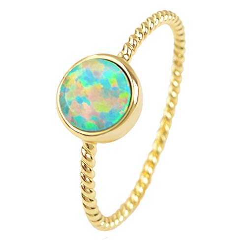 - ZENGORI 1 Piece Gold Plated Bezel Round Fire White Japanese Opal Ring for Unisex
