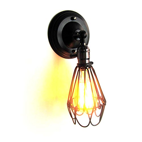 Vintage Wall Lamp Sconce 180 °Rotatable Loft Industrial Style Retro Wire Cage Wall Light Adjustable 31x14cm Bar Coffee Decor (Black)
