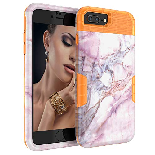 iPhone 8 Plus/7 Plus/6S Plus/6 Plus Case, DOOGE Slim Shockproof Protective Heavy Duty Hybrid Scratch Resistant Impact Cover Shock Absorbent TPU Bumper Marble Case for iPhone 8/7 Plus, 6S/6 Plus (Otterbox Leopard Cover Case Pink)