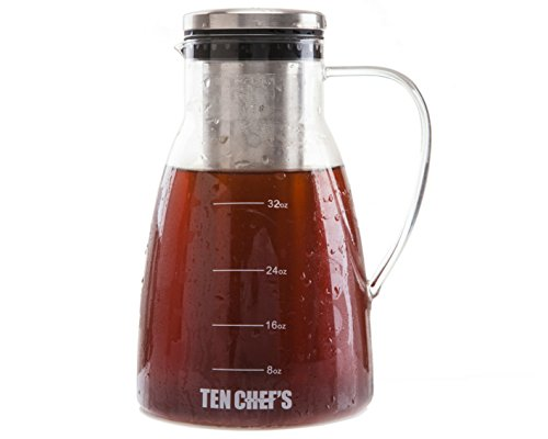 ONE DAY SALE- Cold Brew Coffee Maker and Iced Tea maker (32 oz) - 1 Quart Premium Brewing Glass Pitcher with Removable Stainless Steel Filter and No-Slip Base - Use with Coffee Beans By TenChef's (Green Pot O Gold Glasses)