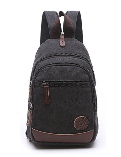 Lightweight Mini Canvas Backpack for Women Girls Purse Small Rucksack Sling Bag (Small, Black 2) (Canvas Small Backpack)