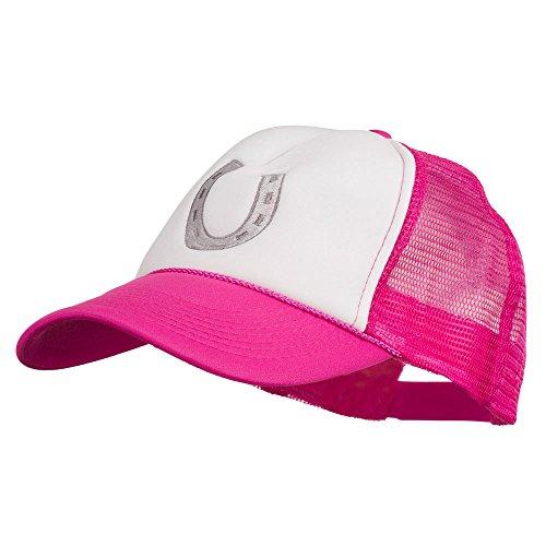 E4hats Western Horseshoe Embroidered Foam Mesh Back Cap - Hot Pink White OSFM