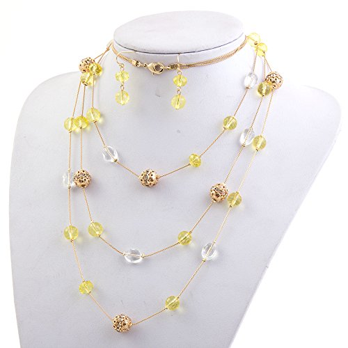 New Beautiful Fashion 3 Layer Handmade Jewelry Set Long Illusion Necklace (plated gold-yellow) (Fashion Jewelry Yellow)