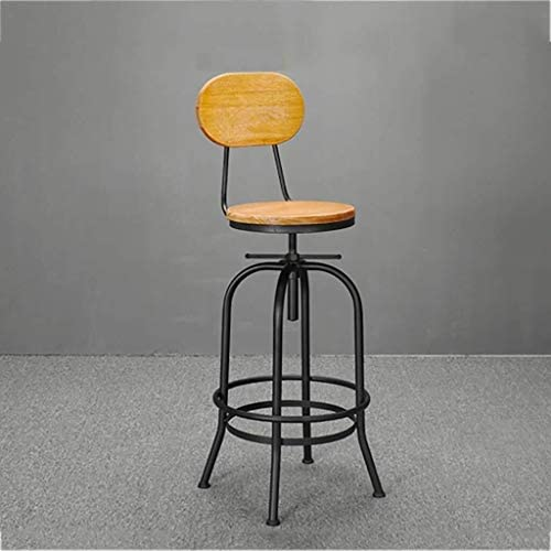 LRXG Stools Bar Chair, Iron Barstool, Lifting Home Back Swivel Chair High Stool Creative Front Desk Chair Retro Industrial Height