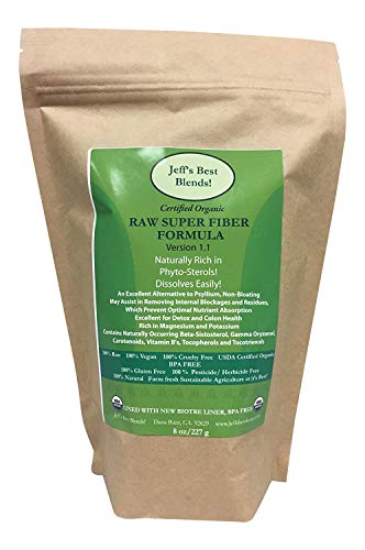 Jeff's Best Blends! RAW Organic Super Fiber Formula! 227 Grams/8 oz.