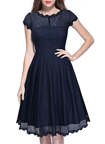 Miusol Women's Vintage Floral Lace 2/3 Sleeve Bridesmaid Party Dress