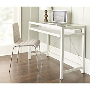 ... Work Office Desk, Pull Out Drawer, Made From Wood, Contemporary Style,  Keyboard Tray, Work Space, Home Office, Dorm, Furniture + Expert Guide ( White)