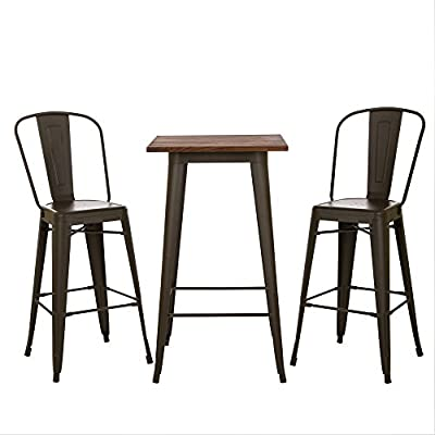 """Glitzhome Rustic Metal Bar Pub Table with Solid Wood Top Height Bar Stool with Backrest Dining Chairs (Table and Chairs Set) - STURDY CONSTRUCTION: This bar table features Heavy-Duty metal frame has good stability and solid wood top crafted for long lasting durability. The industrial metal Bar stools made of high quality steel frame with excellent polish finish, not only sturdy and durable, but also waterproof and rust-proof. Ideal for indoor and outdoor use. OVERALL DIMENSIONS: The table- 19.69""""(L) x 19.69""""(W) x 41.34""""(H). Table top size: 23.62""""L*23.62""""W*0.98""""H. Weight Capacity - 150lbs; The Stool Dimensions: 23""""L x 23""""W x 46""""H. Seat Dimensions: 14""""L x 14""""W, Weight Limit 300 lbs. Package included: Table x 1pc and Stool x 2pcs SCRATCH-PROOF DESIGN: The table and stools set is lightweight. The legs have protective rubber feet that prevent damage to flooring. - kitchen-dining-room-furniture, kitchen-dining-room, dining-sets - 4118do2tx5L. SS400  -"""