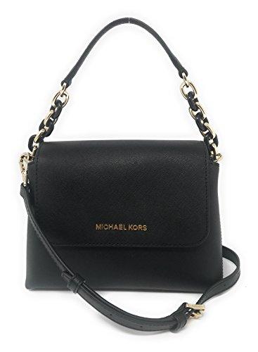 Michael Kors Portia Small EW Leather Satchel Crossbody Bag in Black