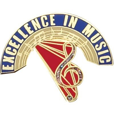 1-1/8 Inch Excellence in Music Lapel Pin - Package of 12, Poly - Music Pin Lapel